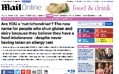 Are YOU a 'nutrichondriac'? The new name for people who shun gluten and dairy because they believe they have a food intolerance - despite never having taken an allergy test