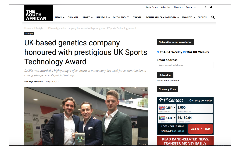 UK-based genetics company honoured with prestigious UK Sports Technology Award